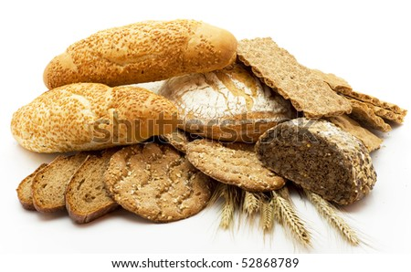 Bread of a different kind isolated on a white background