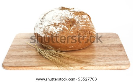 bread on a wooden cutting board