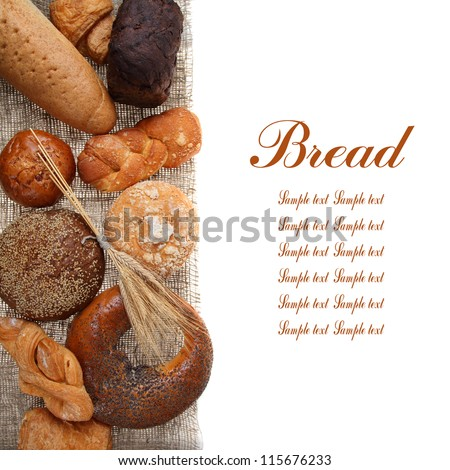 Bread on sacking isolated on white background