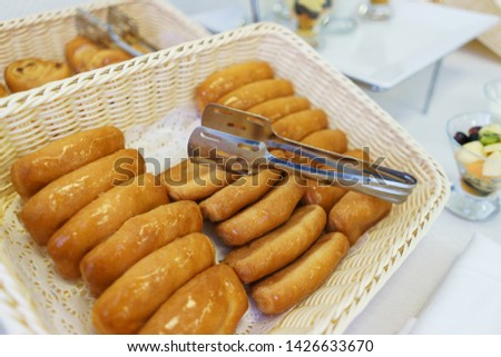 Bread on the table prepared for guests and participants of the event. Top view.  Catering guest meals during event. Quick mini snacks dish.  #1426633670