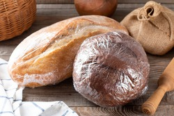 Bread packed for freezing. Frozen bread in storage bag. The frozen products