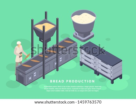 Bread production concept banner. Isometric illustration of bread production concept banner for web design