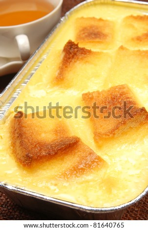 Bread Pudding in the disposable aluminum baking pan