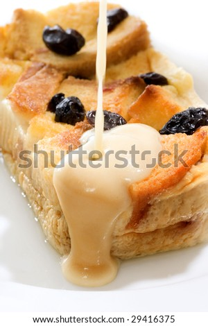 Bread pudding, made from bread covered with fla