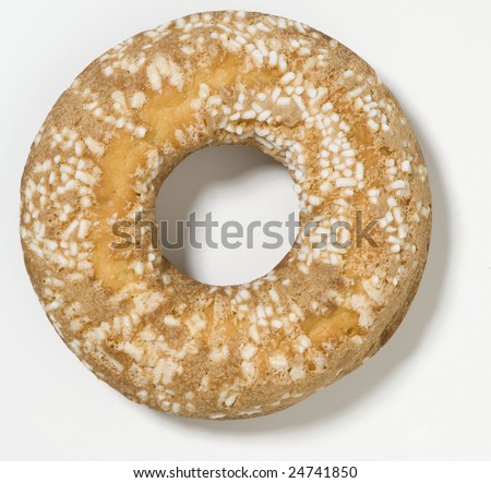 Bread rings shaped cake granulated sugar on white background