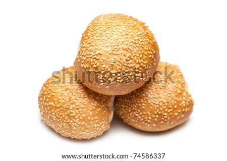 Bread rolls isolated on white background