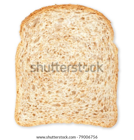 Bread slice isolated on white, clipping path included