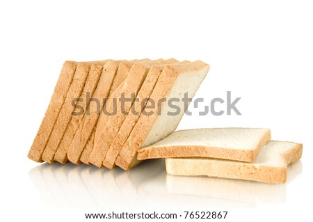 bread sliced isolated on white with reflection