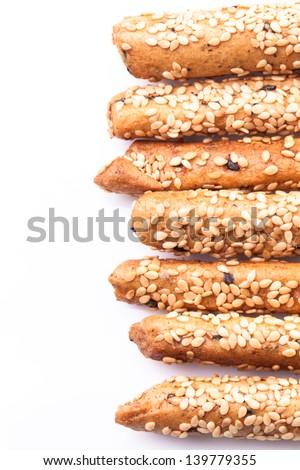 Bread sticks against white background