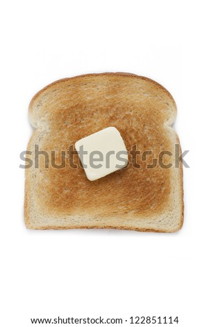 Bread toast with butter isolated on white background.
