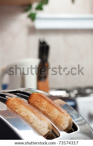 bread toaster in the kitchen morning time
