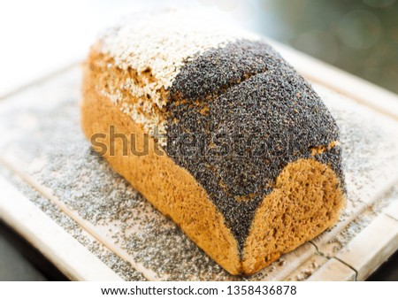 Bread with a crust of different seeds
