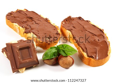 Bread with chocolate cream