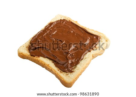 Bread with chocolate cream isolated on white