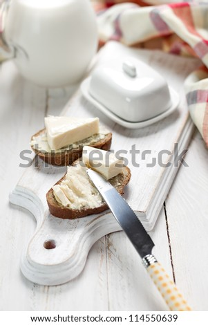 Bread with cream cheese for breakfast