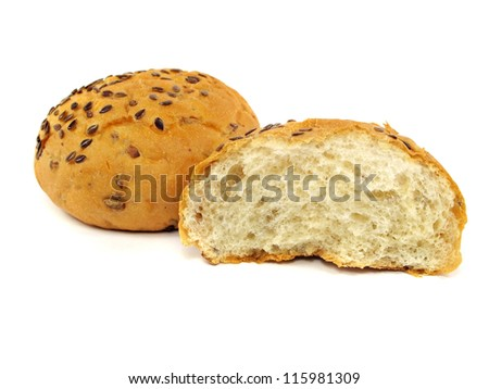 bread with flax and sunflower seeds on a white background