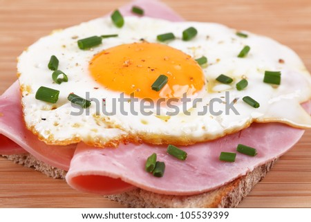 bread with fried egg and ham