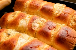 Bread with garlic baked ( in portuguese: pão de alho ) in the oven. It is a very traditional appetizer in Brazil, where it is usually eaten grilled on the barbecue.