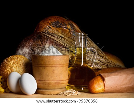Bread with oil, eggs and flour
