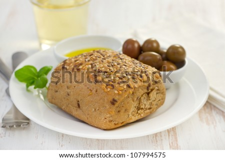 bread with olives and olive oil