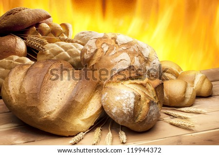 bread  with wheat   on the wooden table