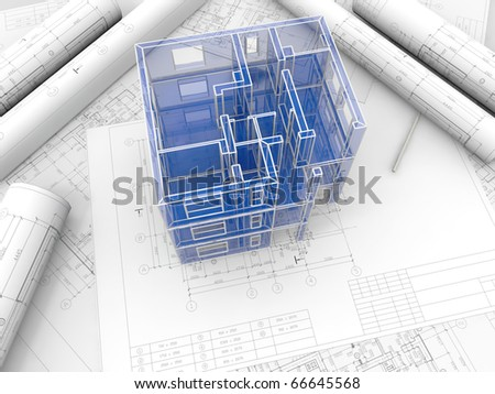 Breadboard model of a building made under drawings