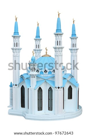 Breadboard model of a mosque Kul Sharif separately on a white background