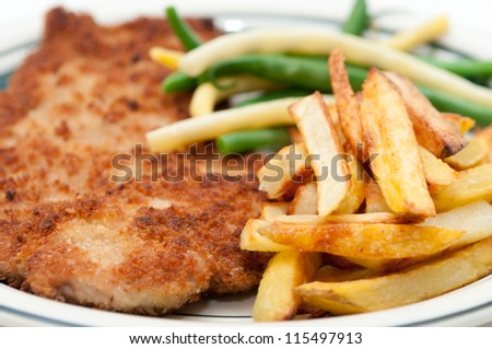 breaded and fried chicken breast and home made fries with string beans, gluten free using rice flour