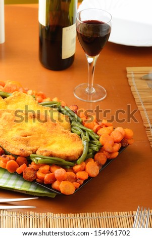 breaded chicken with vegetables