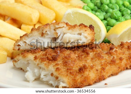 Breaded cod fillet with chips and peas