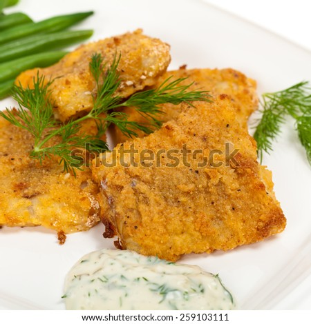 Breaded White Fish Fillets. Selective focus.