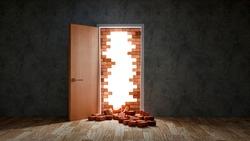 Break brick wall with opening door, freedom concept