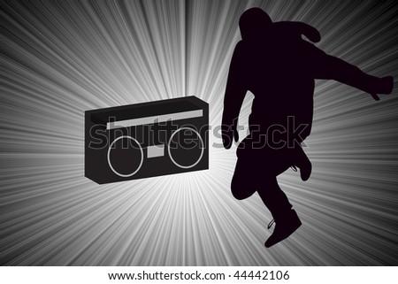 Break dancer Dancing with Old School Boom Box Silhouette illustration.