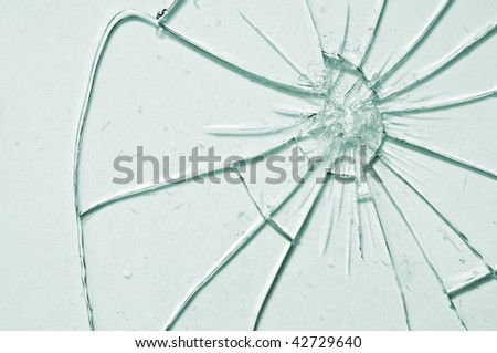 break glass background close up