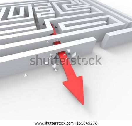 Break Out Of Maze Shows Overcome Puzzle Escape Solved