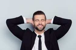 Break pause people holiday day-off manager freelancer employment boss staff employee concept. Close up portrait of cheerful excited handsome man relaxing plan with closed eyes isolated gray background