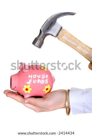 break the piggy bank - over a white background