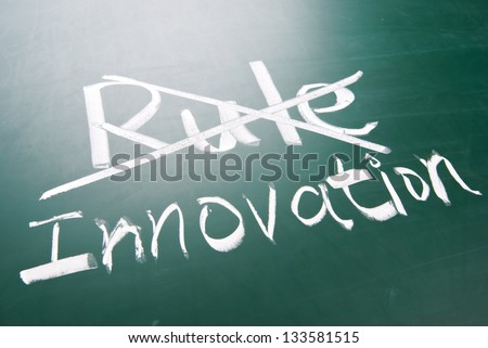 Break the rule for innovation, conceptual words on blackboard