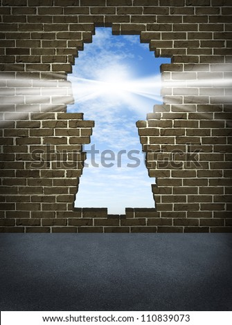 Break through and the solution or answer to success as a breaking down walls concept for business or a free your mind icon with an old urban brick wall with a damaged hole in the shape of a key hole.