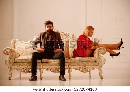 break up concept. break up couple has bad relations. family couple just break up. break up of man and woman sitting closly but doesnt see each other