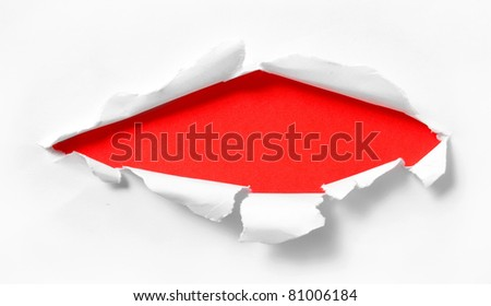 break white paper with red background