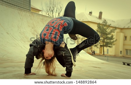 Breakdance girl Stockfoto ©