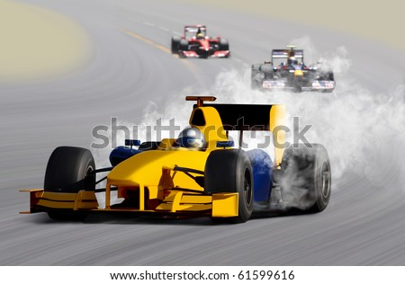 breakdown of formula one race car on speed track