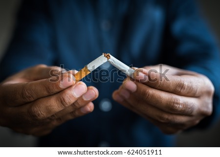 Breake down cigarette.Quitting from addiction concept.