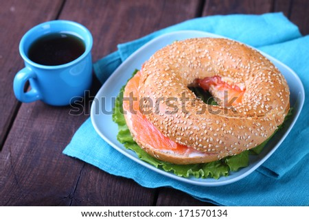 breakfast, a bagel with cream cheese and salmon