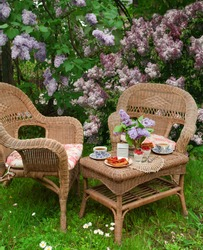 Breakfast at the garden. Selective focus