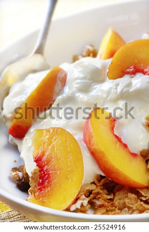 Breakfast bowl of fresh fruit, yoghurt, and muesli cereal.  A delicious start to the day.