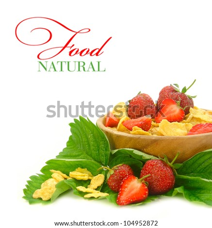 Breakfast cereal with strawberries and red