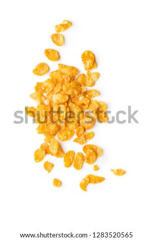 Breakfast cereals or cornflakes isolated on white background. Top view. #1283520565