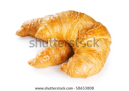 Breakfast concept - croissant and tea isolated on white - stock photo